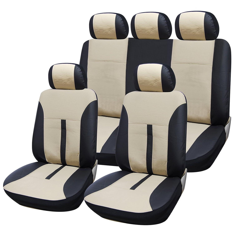 Kunstleder WOLTU AS7288 Universal Schonbez/üge f/ür Auto Sitzbez/üge Sitzschoner Sitzbezug Auflage schwarz-beige