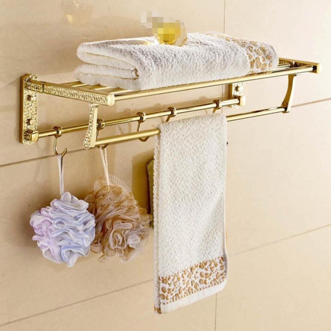 GL&G Gold stainless steel Bathroom Bath Towel Rack Double Towel Bar activity With hook Holder Towel Bars Wall Mount Collapsible Bathroom Shelves Home Decoration Towels storage