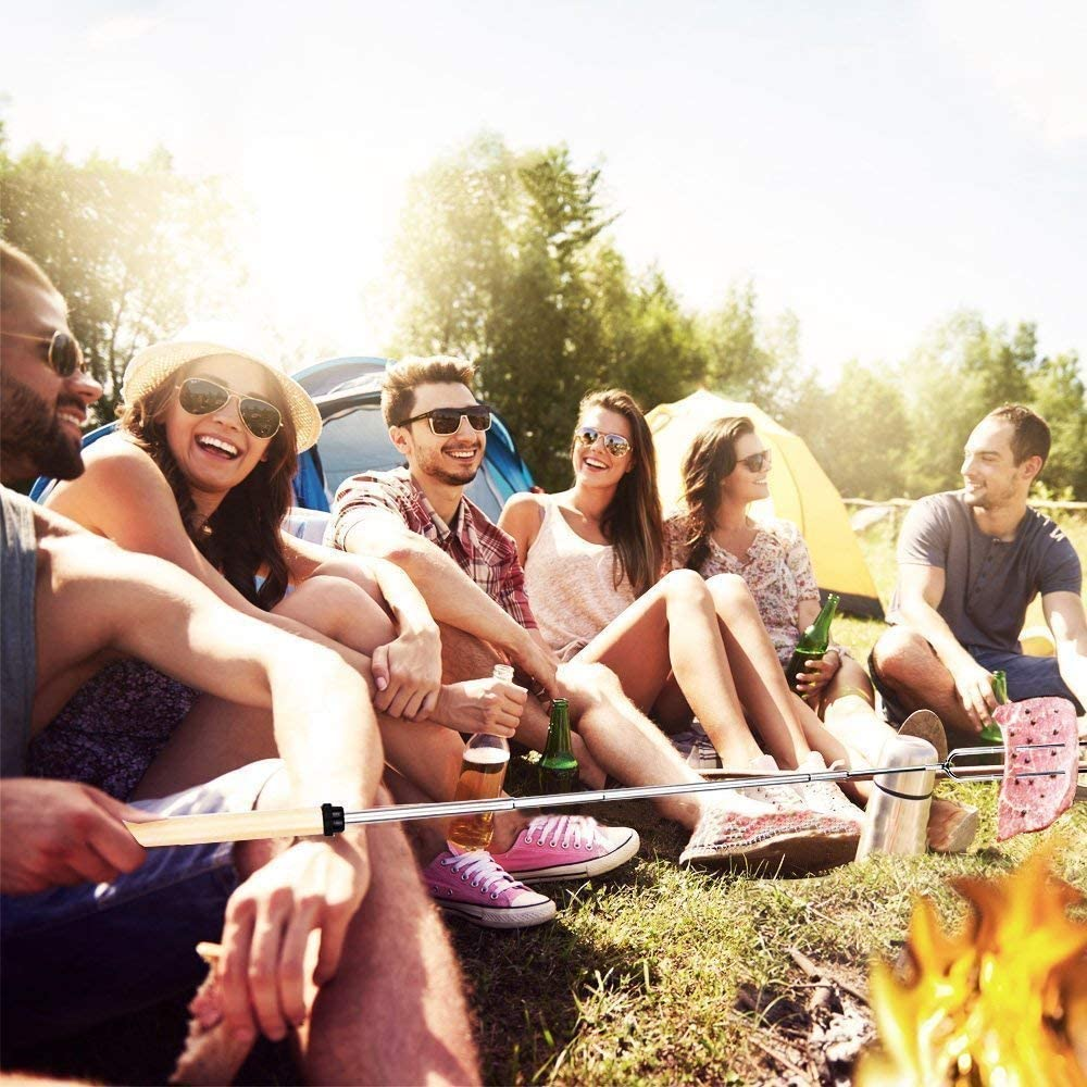 Marshmallow Roasting Sticks,32Inch Extendable Smores Sticks for Fire Pit,10pcs Bamboo Skewer and Set of 8 Campfire Roasting Sticks with Portable Bag for Grilling,Campfire, Camping, Bonfire 515kJpdMoNL