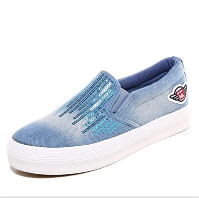 6b36f10f16c8 Feilongzaitianba Women Slip On Flat Denim Casual Shoes Canvas Leisure Solid  Breathable Student Shoes Plus Size