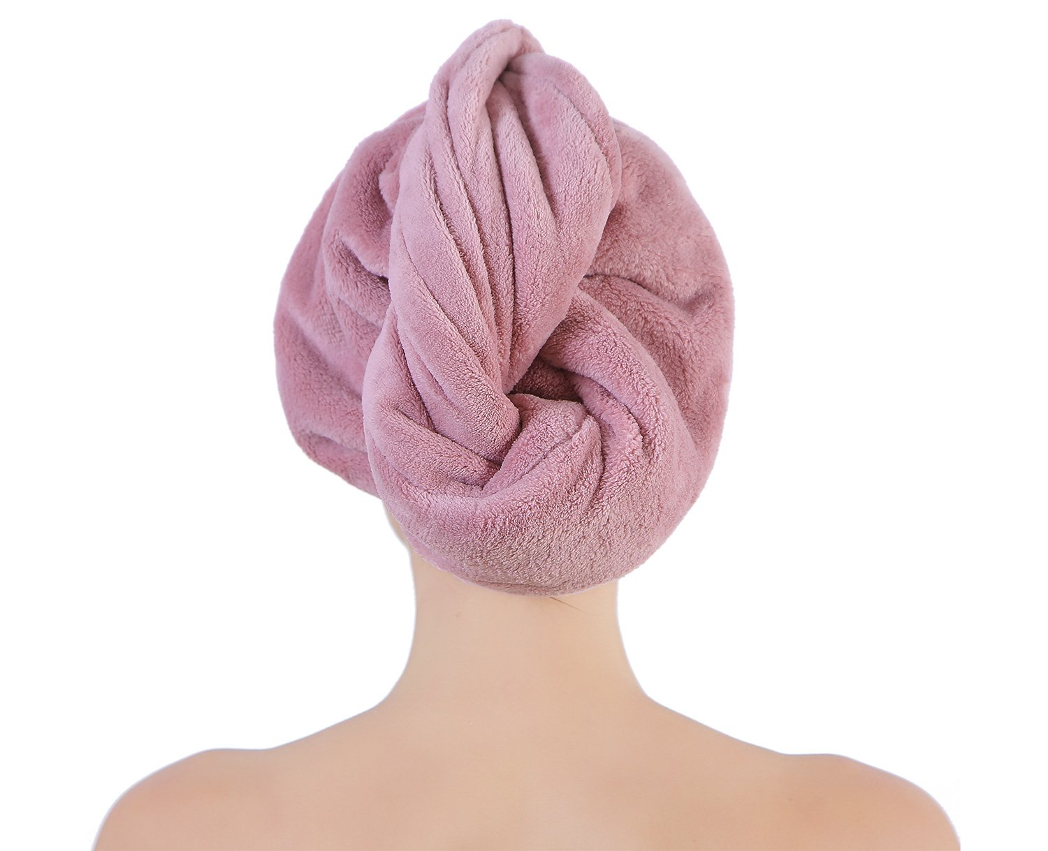 2 Pack Microfiber Hair Twist Towel Double Layer Designed Super Absorbent & Fast Drying Turban Wrap for Women Girls by Sanli (light orange+purple) by Sanli (Image #3)