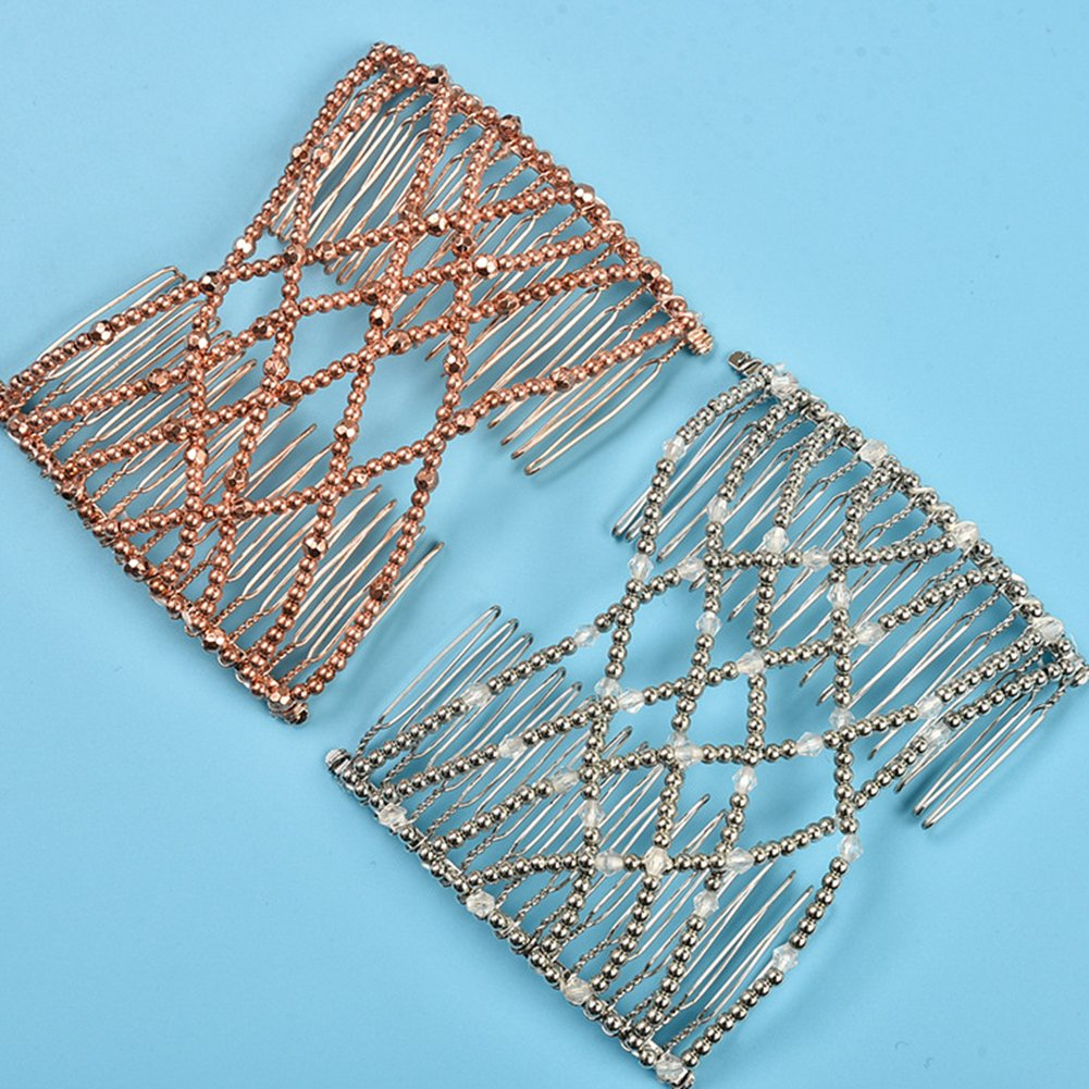 Casualfashion 2 Pcs Glittering Crystal Rhinestone Hair Combs Double Clips Insert Hair Accessories for Women 5503-black-coffee