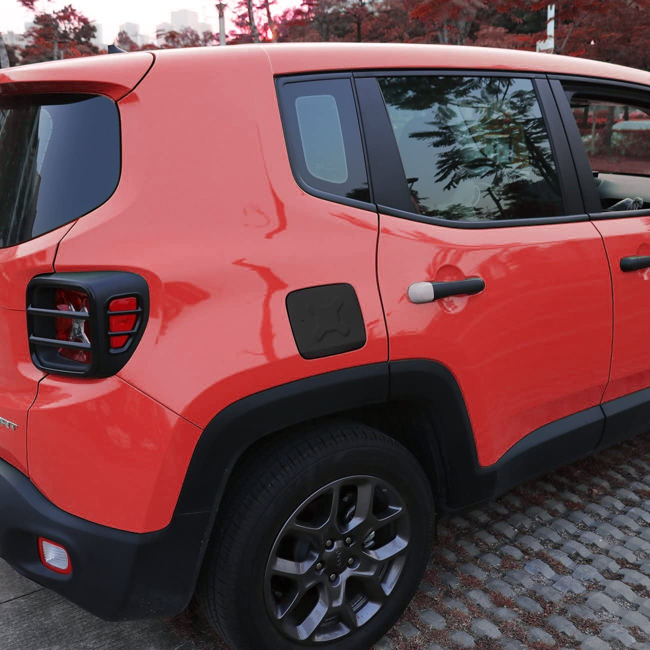 EnRand Door Handle Cover,Gas Tank Cover,Tail Light Cover Guard,Front Light Bezel Headlight Cover Trim and Front Grill Grille Inserts for Jeep Renegade 18pcs Black