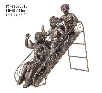 Garden Patio Indoor Outdoor 3 Children Kids Playing On Slide Statue  Sculpture,Bronze Color 46u0026quot