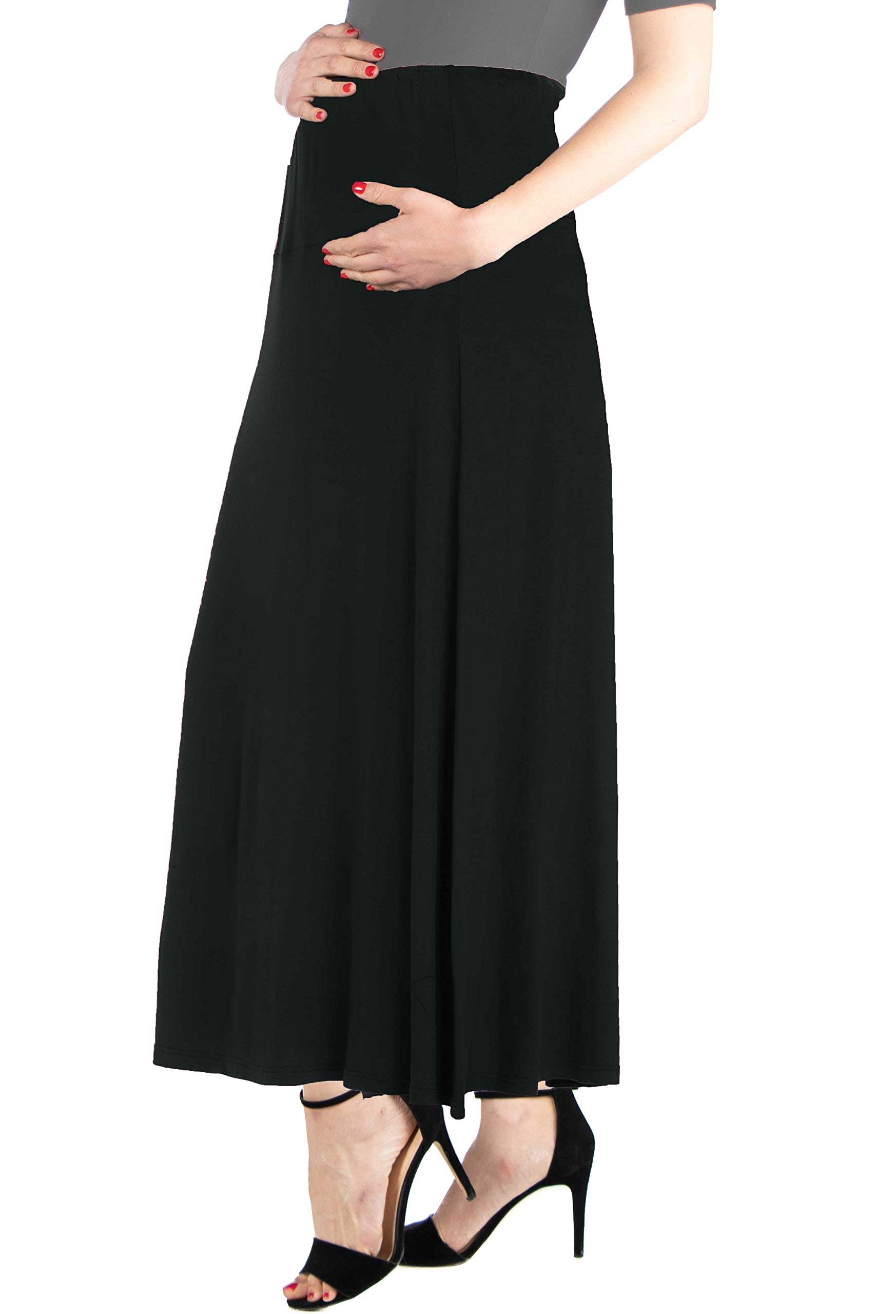 24seven Comfort Apparel Women's Plus Size Maternity Flared Maxi Skirt with Elastic Waistband - Made in USA - 6X-Large - Black by 24/7 Comfort Apparel