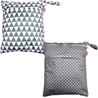 Damero 2pcs Travel Wet and Dry Bag with Handle for Cloth Diaper, Pumping Parts, Clothes, Swimsuit and More, Easy to Grab and Go (Large, Gray Triangle+ Gray Dots)