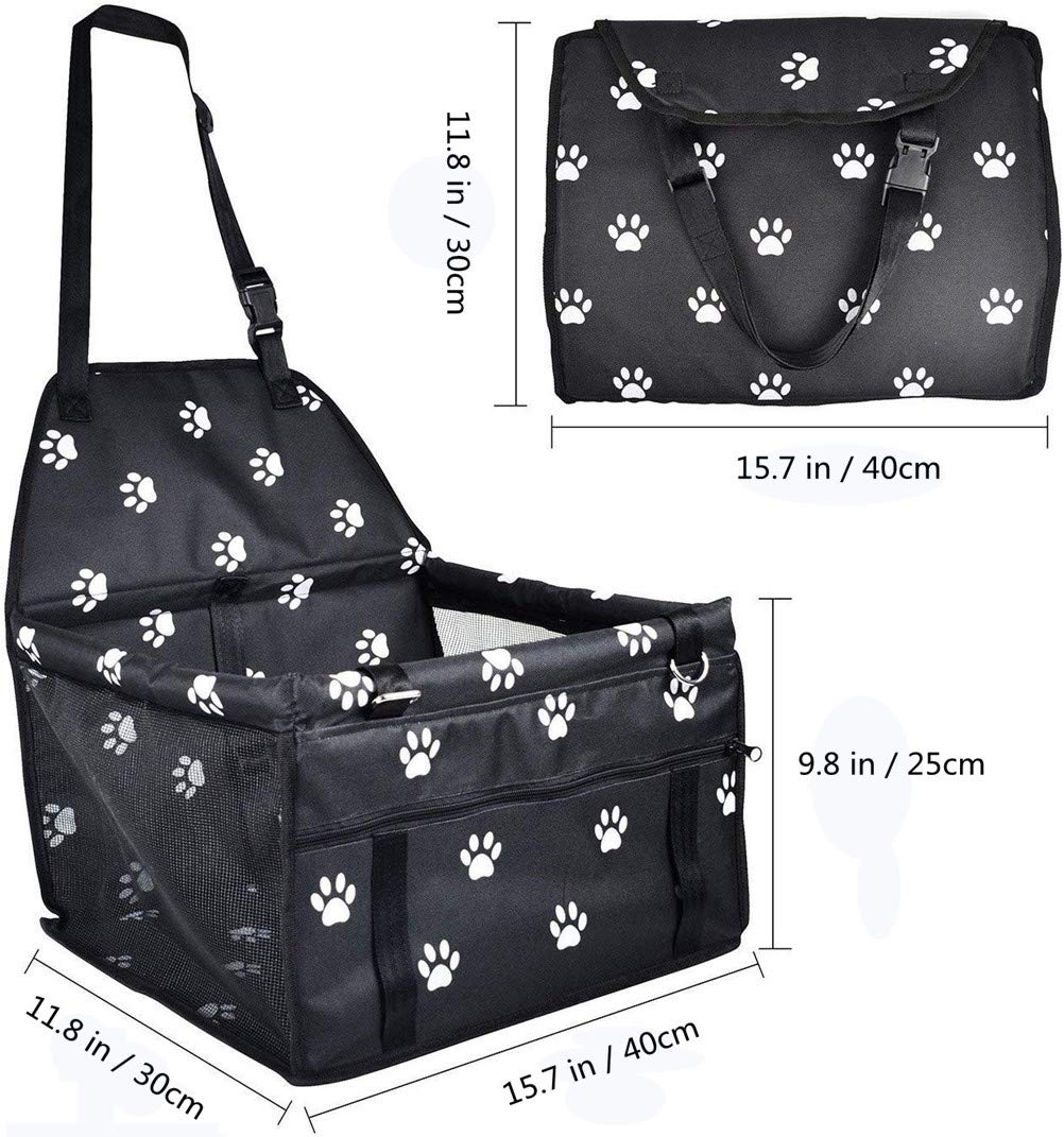MornBee Dog Car Booster Seat Cover with Safety Belt Black 2 Pet Travel Carrier Bag for Small Puppy Dogs and Cats