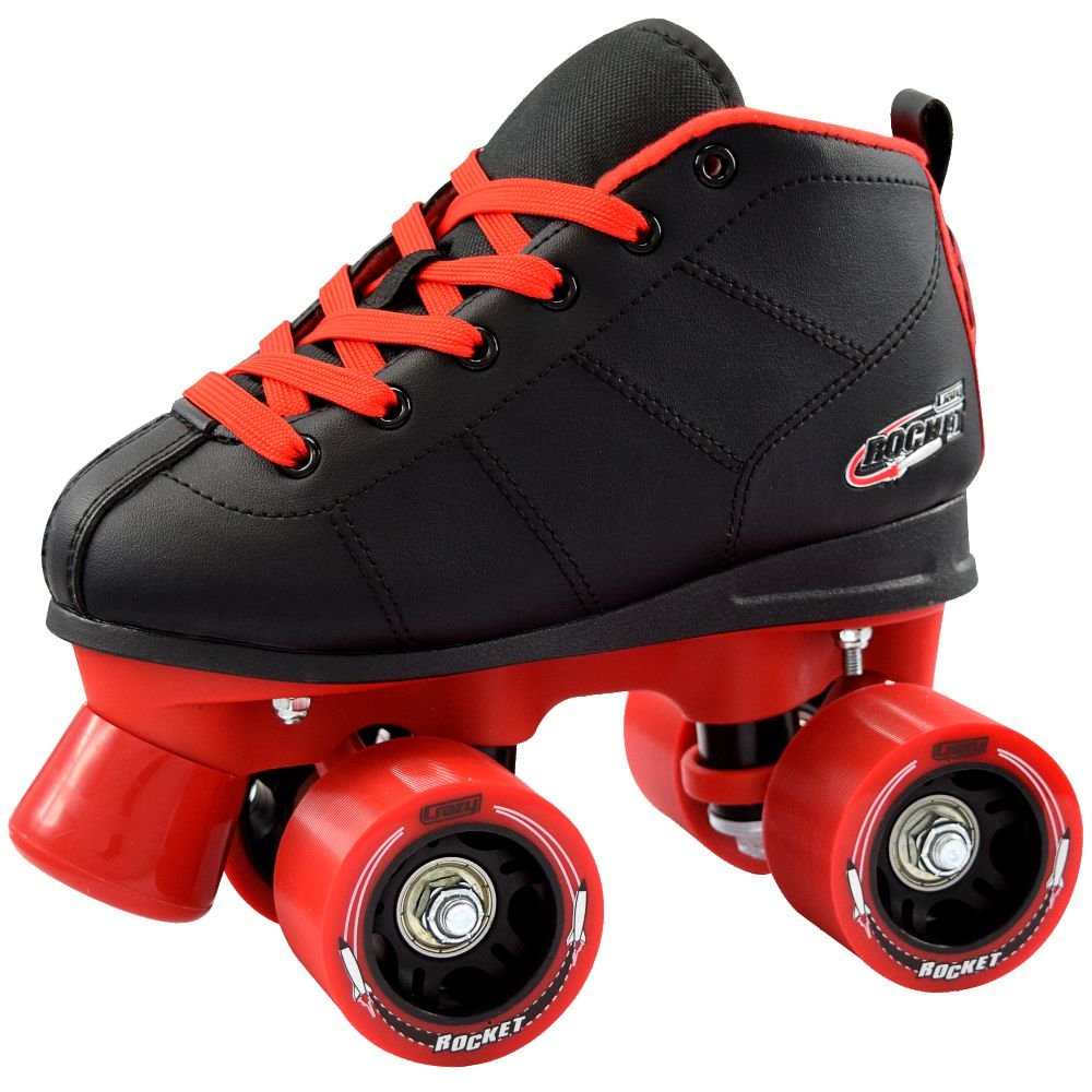 Crazy Skates Rocket Kids Roller Skates | A Great Beginner Skate with Supportive Fit and Smooth Braking | Black and Red