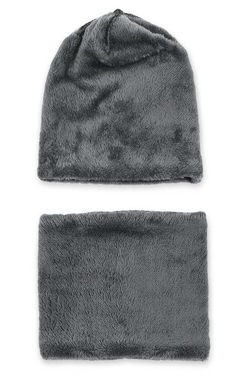 Winter Beanie Scarf for Boys Girls (5-14 Years) Warm Snow Knit Hats Windproof HINDAWI Circle Scarf Kids Slouchy Skull Cap Grey by HindaWi (Image #3)