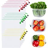 YIHONG Set of 15 Reusable Mesh Produce Bags - Eco-Friendly - Washable and See-Through - with Colorful Tare Weight Tags - 3 Sizes