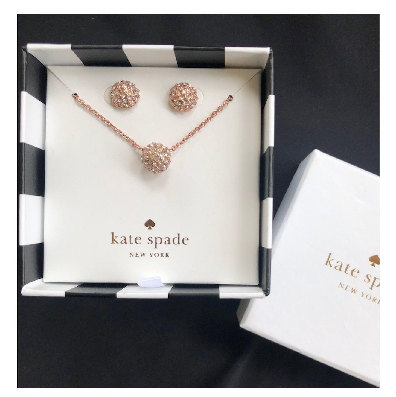 Kate Spade Pave Rosegold Night Lounge Boxed Earrings & Pendant Set
