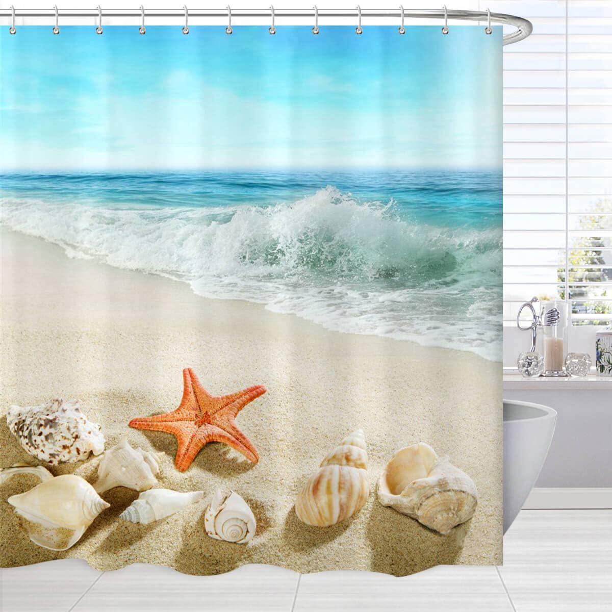 BROSHAN Beach Seashell Shower Curtain, Sea Shells Starfish Conch Stones on Beach Blue Ocean Bath Bathtub Curtain Home Decor, Seaside Bathroom Decor and Accessories Set