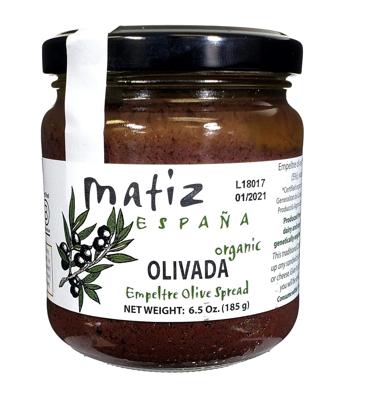 Matiz España Black Olive Spread, 6.5 ounces, Natural Authentic Spanish Flavor, Create Gourmet Bruschetta, Tapenade, Sandwich, or Appetizers