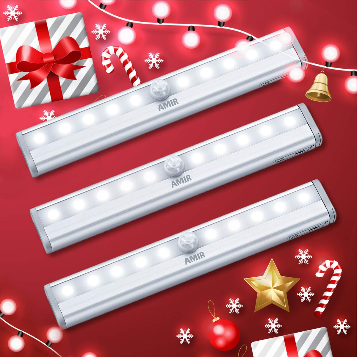 NEW VERSION AMIR Motion Sensor Lights, 10-LED DIY Stick-on Anywhere Battery Operated Portable Wireless Cabinet Night/Stairs/ Step/Closet Light Bar with Magnetic Strip (White, 3 Pack) by AMIR (Image #8)