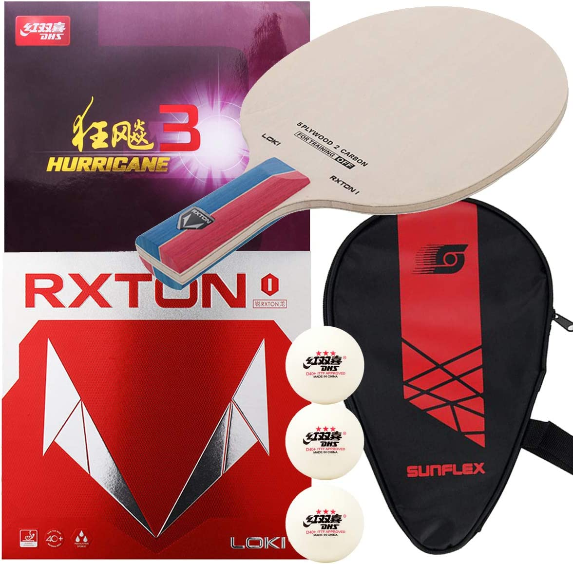 Loki RXTON 1 Carbon Blade with RXTON 1 and DHS Hurricane 3 Table Tennis Rubber, TTSports Assembled Training Series Ping Pong Racket