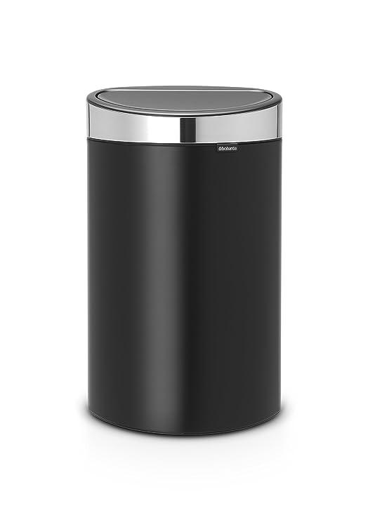 Brabantia Touch Bin Cubo de Basura, 40 litros, Anti-Huellas, Negro Mate