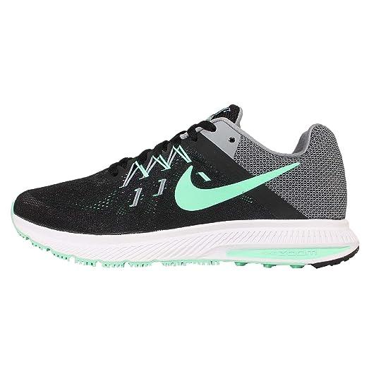 new arrival 68d6b 4528e Nike Women s Wmns Zoom Winflo 2, BLACK GREEN GLOW-COOL GREY-WHITE ...