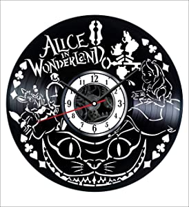Alice in Wonderland Vinyl Wall Clock Vintage Record Get Unique Home and Office Decor Bedroom Kitchen Kids Living Room - Gifts for Men Women Kids Father Mother Modern Art Design Free Personalization