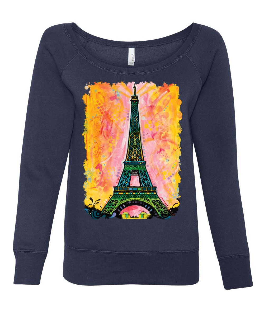 Eiffel Tower Women's Sweatshirt Dean Russo Paris France Travel Europe EU Navy Blue S