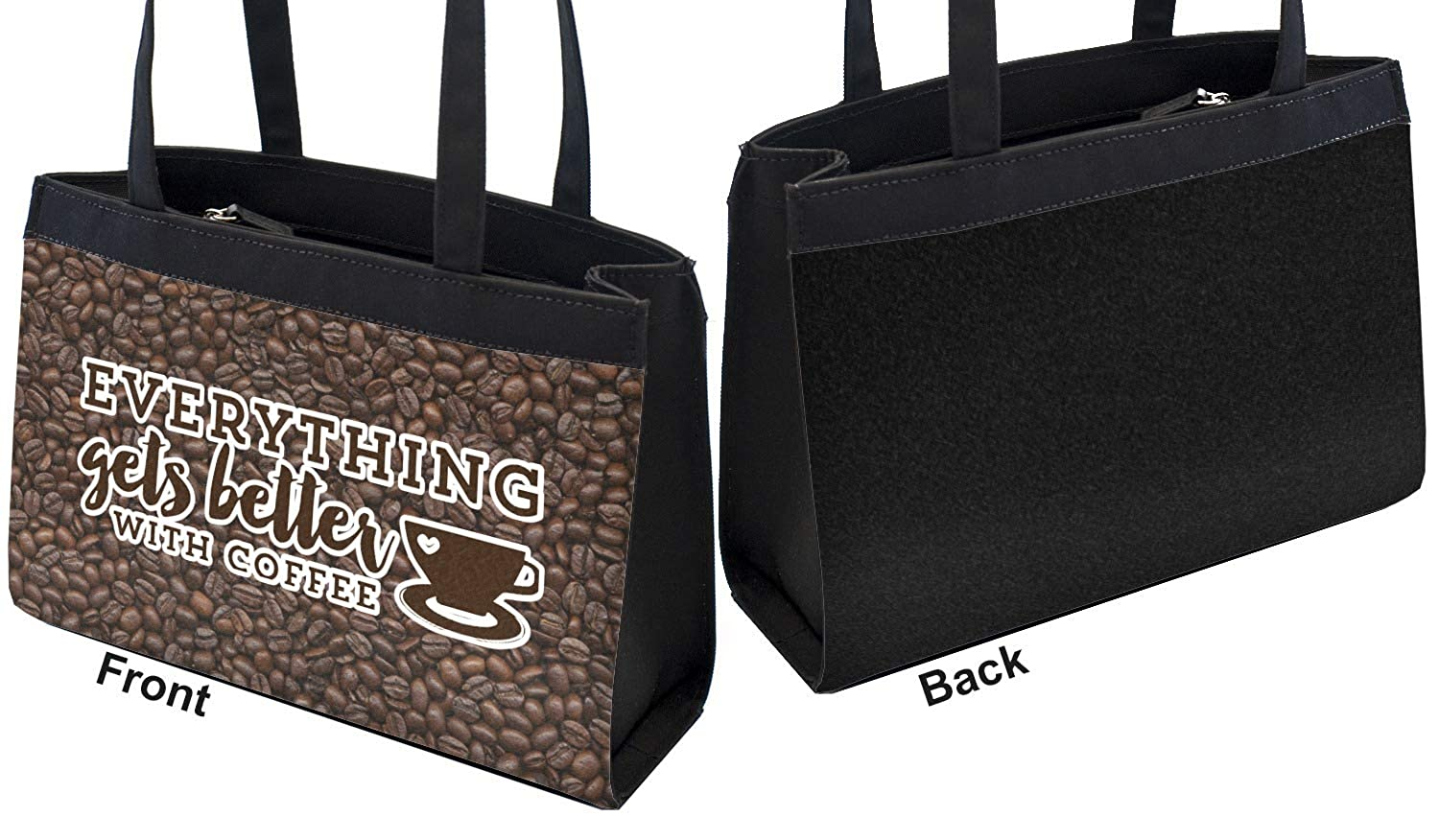 Personalized Coffee Addict Zippered Everyday Tote Front