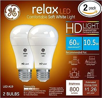 GE Relax 60-Watt EQ A19 Soft White Dimmable LED Light Bulb 2-Pack