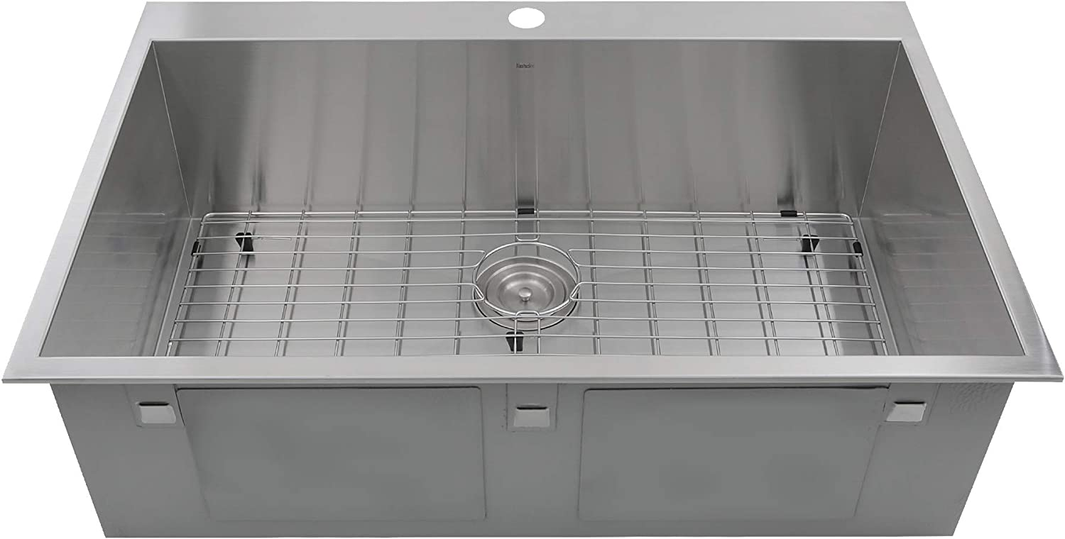 Nantucket Sinks ZR3322-S-16 ZR3322-S-16-33 Inch Large Rectangle Single Bowl Self Rimming Zero Radius Drop in Kitchen Sink, 16 Gauge-1 Hole, Stainless steel