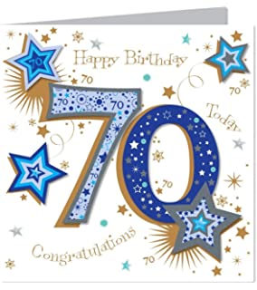 Large Luxury Handmade 70th Birthday Card