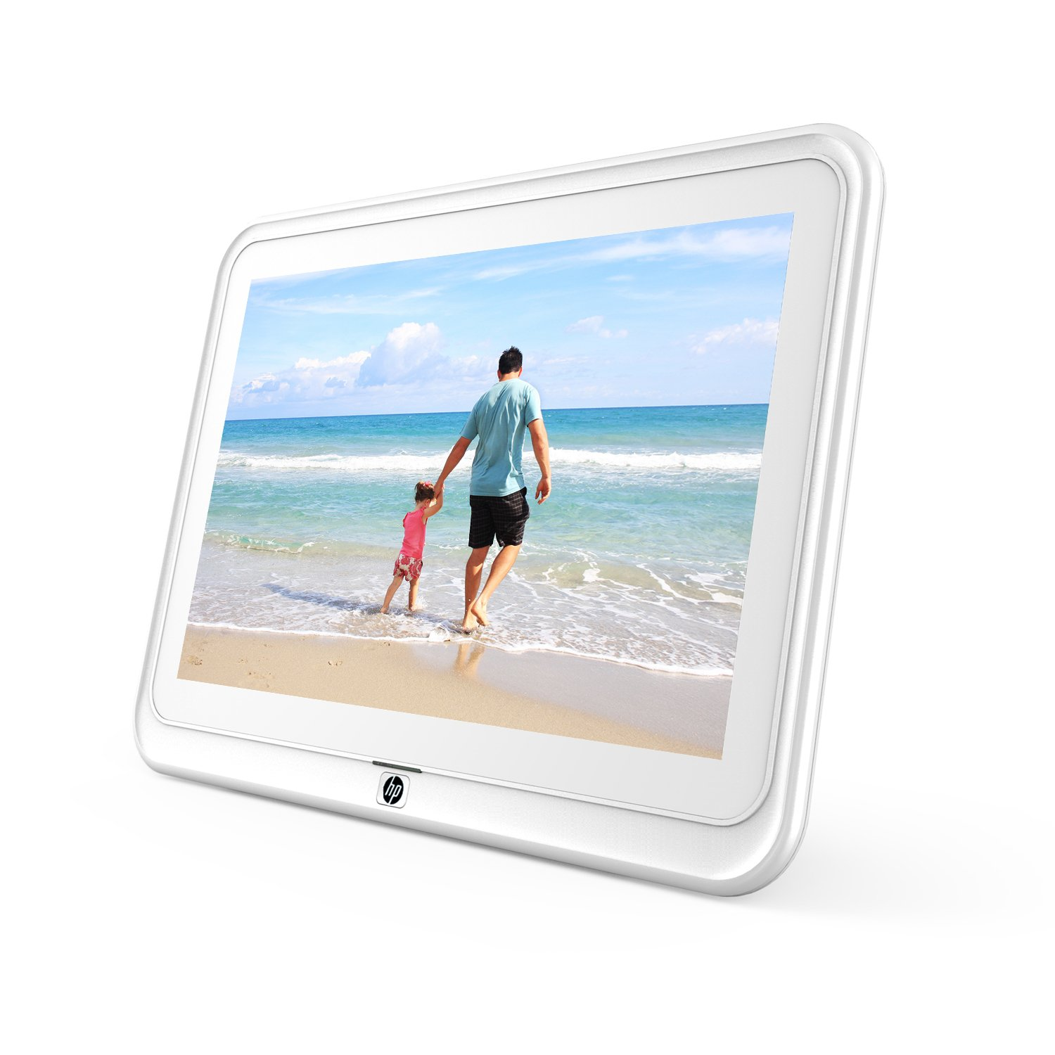 HP df1050tw 10.1 inch WiFi Digital Photo Frame with HD Display, iPhone & Android App, 8GB Internal Storage, SD Card, Memory Drive Slots, Stereo Speakers - White