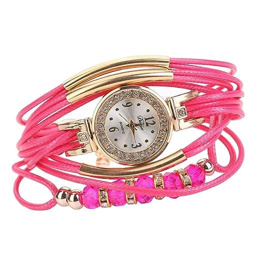 Pulsera del Reloj, K-youth® Reloj de pulsera Cuarzo Brazalete Cuero Trenzado Retro para Mujer Moda Relojes de mujer Baratos y bonitos (Rosa caliente): ...