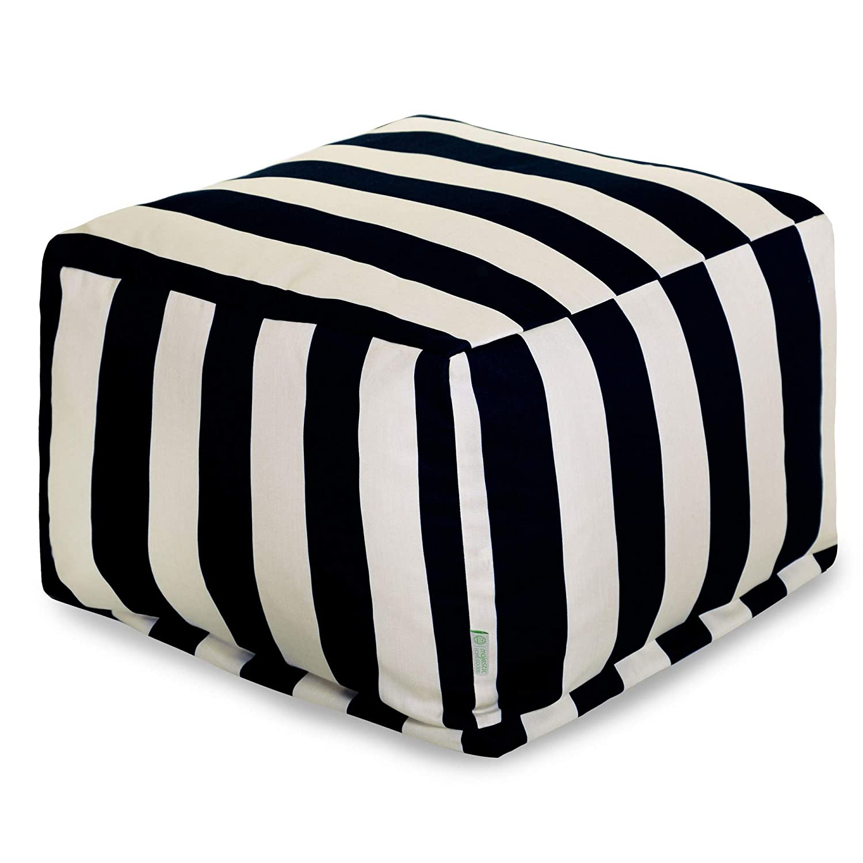 Majestic Home Goods 85907220223 Vertical Stripe-Black Ottoman, Pouf, Cube, Large,