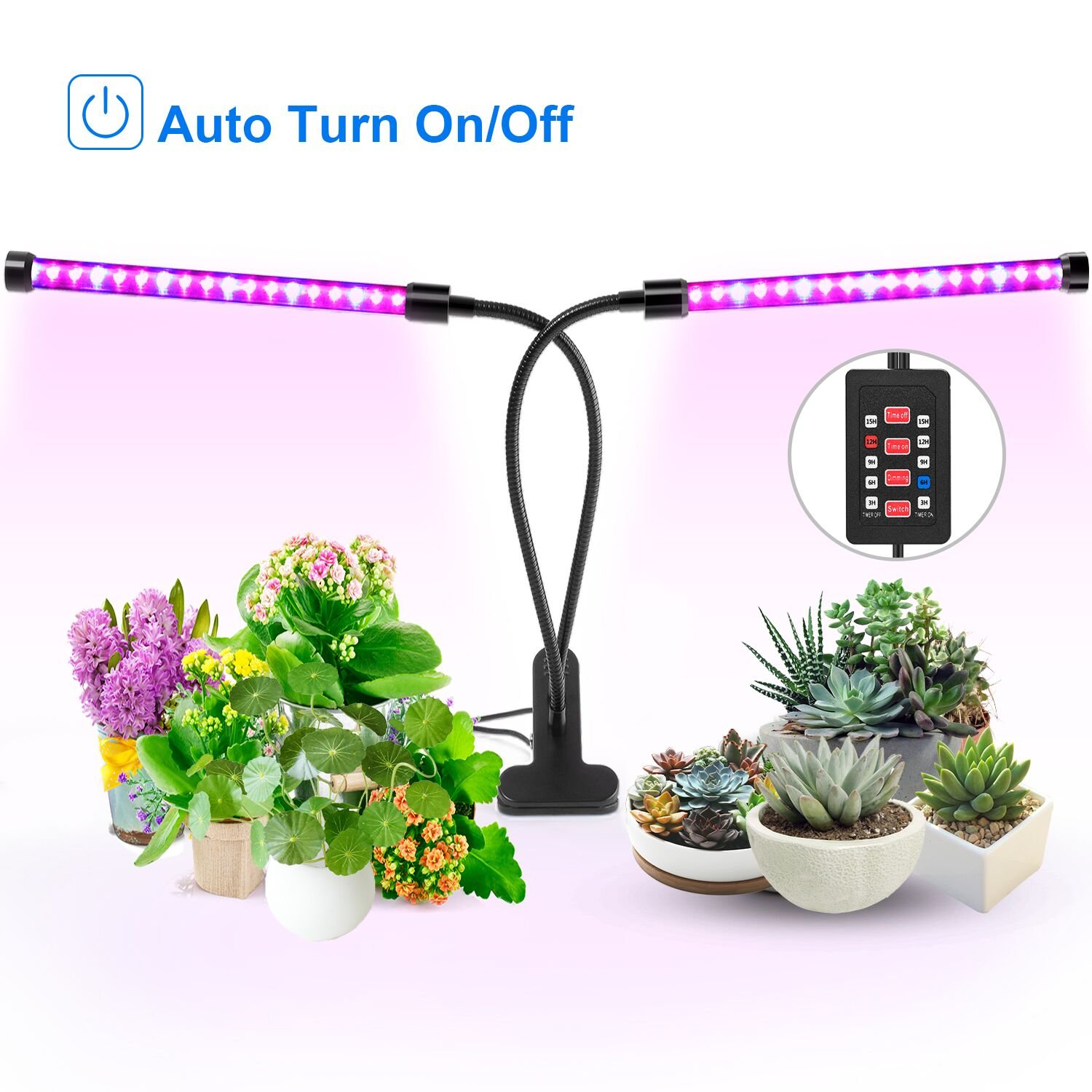 [Auto Turn On/Off] 18W Dual Head Timing Grow Light, Ankace 36 LED 5 Dimmable Levels Plant Grow Lights for Indoor Plants with Red/Blue Spectrum, Adjustable Gooseneck, 3/6/9/12/15H Timer, 3 Switch Modes