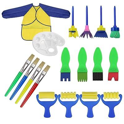 18 piezas Aprendizaje temprano esponja pinceles de pintura y paleta para niños gouache Craft pinceles y delantal Herramientas de pintura: Bricolaje y herramientas