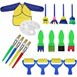 18 PCS Brosses de Peinture enfant Pinceaux Ensemble Enfants Éponge Dessin Art DIY Outils avec Palette et Tablier Rouleaux de peinture