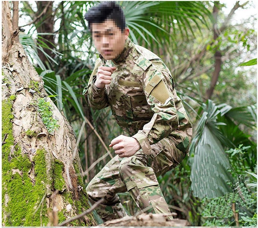 Uniforme militar Fanático del ejército equipado con camisa de manga larga y pantalones de camuflaje de bolsillo múltiples Adecuado para el entrenamiento militar táctico informal Selva Deportes ocultos: Amazon.es: Hogar