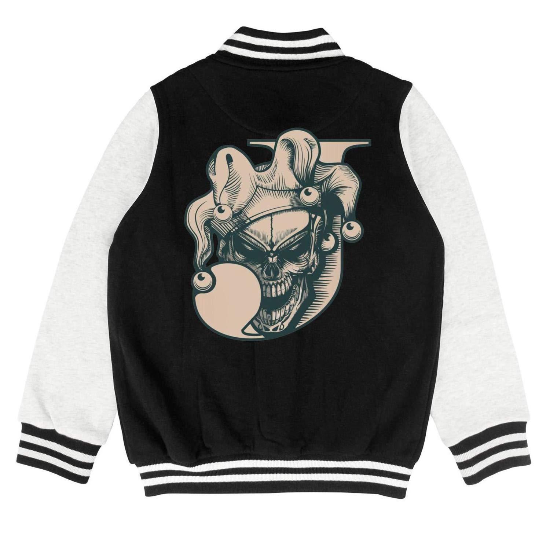 Autumn Baby Little Kids Cotton Vintage Joker Skull Hand Drawn Novelty Baseball Jacket Sweater Coat