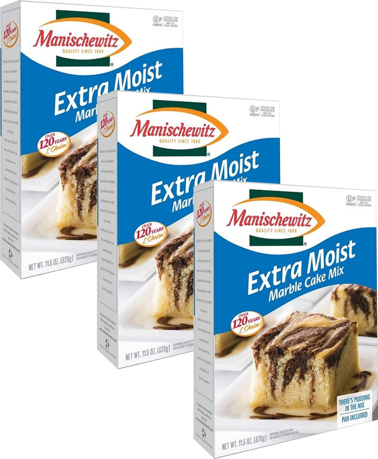 Manischewitz Extra Moist Marble Cake Mix, Kosher For Passover, 11.5 Ounce Box (Pack of 3, Total of 34.5 Oz)