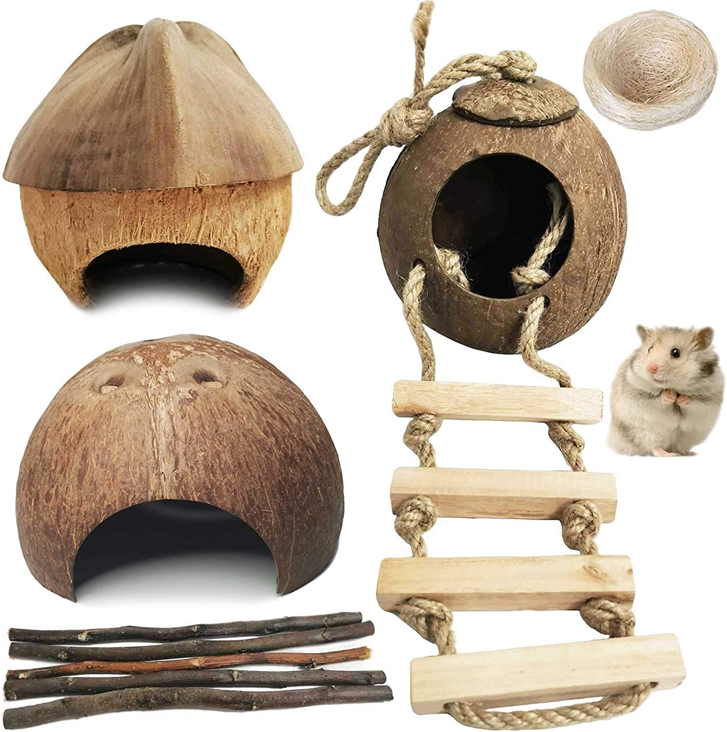 kathson Natural Coconut Hut Hamster Hiding House Pet Cave Small Animal Cage Habitat Decor Hanging Guinea Pig Toys with Ladder for Gerbils Rats Mice Playing Breeding 9PCS