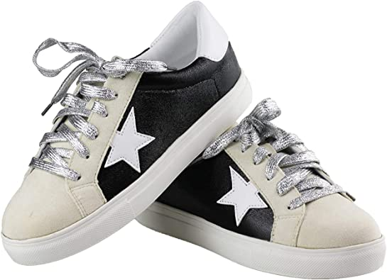 Womens Flat Sport Sneakers Round Toe Lace-Up Casual 2 Tones Low Top Rubber Skateboard Shoes