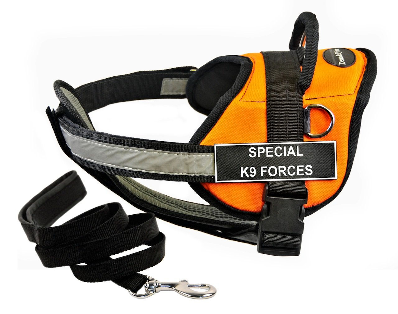 Dean & Tyler's DT Works orange SPECIAL K9 FORCES Harness with Chest Padding, X-Small, and Black 6 ft Padded Puppy Leash.
