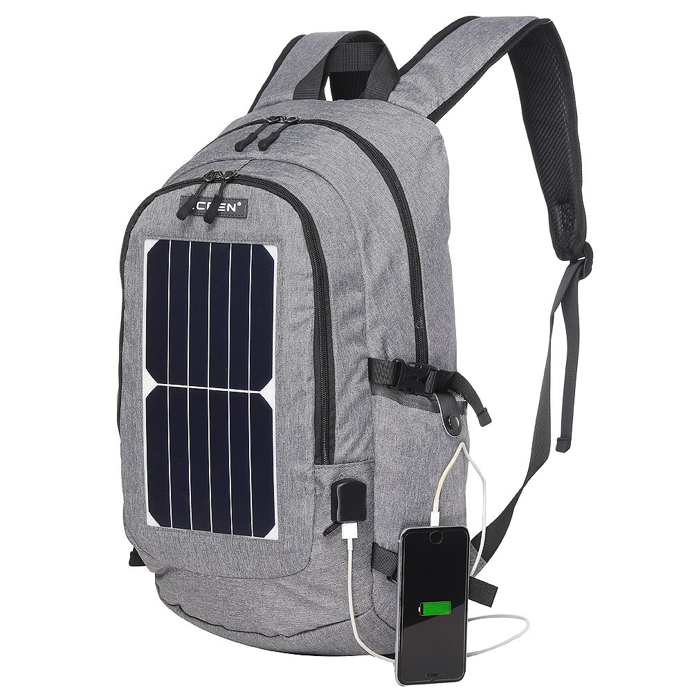 ECEEN Solar Powered Business Laptop Backpack Slim Computer Bag College School Backpack Eco-friendly Travel Shoulder Bag with 7 Watts Solar Panel & USB Charging Port Fits UNDER 15.6'' Laptop & Notebook