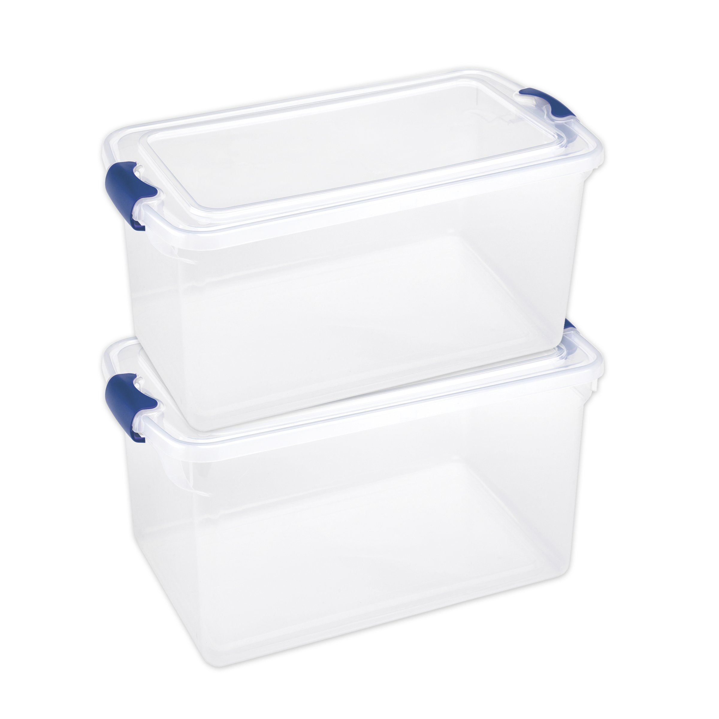 Homz Plastic Storage, Modular Stackable Storage Bins with Blue Latching Handles, 66 Quart, Clear, 2-Pack by Homz (Image #4)