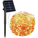 Nittelights Solar String Lights, LED String Lights 100 LED 33ft 8 Modes Copper Wire Lights,Waterproof Decorative Lights for Bedroom, Patio, Parties,Christmas. Warm White.