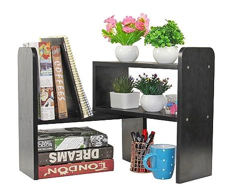 office bookshelf. PAG Desktop Bookshelf Adjustable Countertop Bookcase Office Supplies Wood Desk Organizer Accessories Display Rack, Black