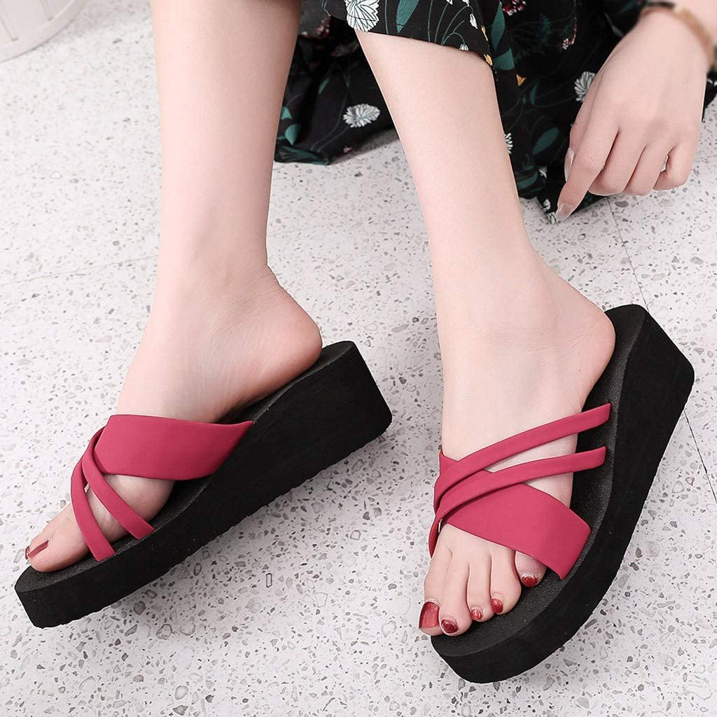 RQWEIN Womens Yoga Sling Flats Sandal Slip On Slippers Toe Separators Shower Sandal Beach Mule Non-Slip Sole Pool Shoes