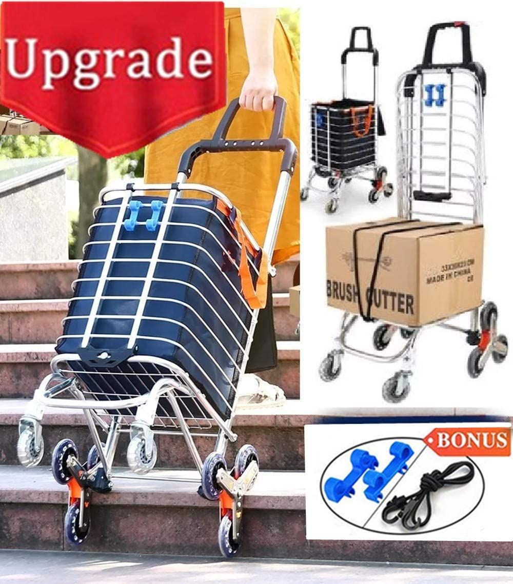 Foldable Shopping Cart Portable Grocery Utility Lightweight Stair Climbing Cart with Rolling Swivel Wheels and Removable Waterproof Canvas Removable Bag