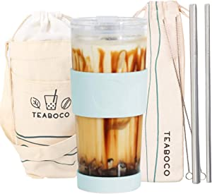 All-In-One Reusable Glass Boba Cup Gift Set / Smoothie Tumbler - 24oz BPA FREE Bottle with Leakproof Lid, Silicone Sleeve and Two Metal Straws for Water, Smoothies, Bubble Milk Tea and Coffee (Blue)