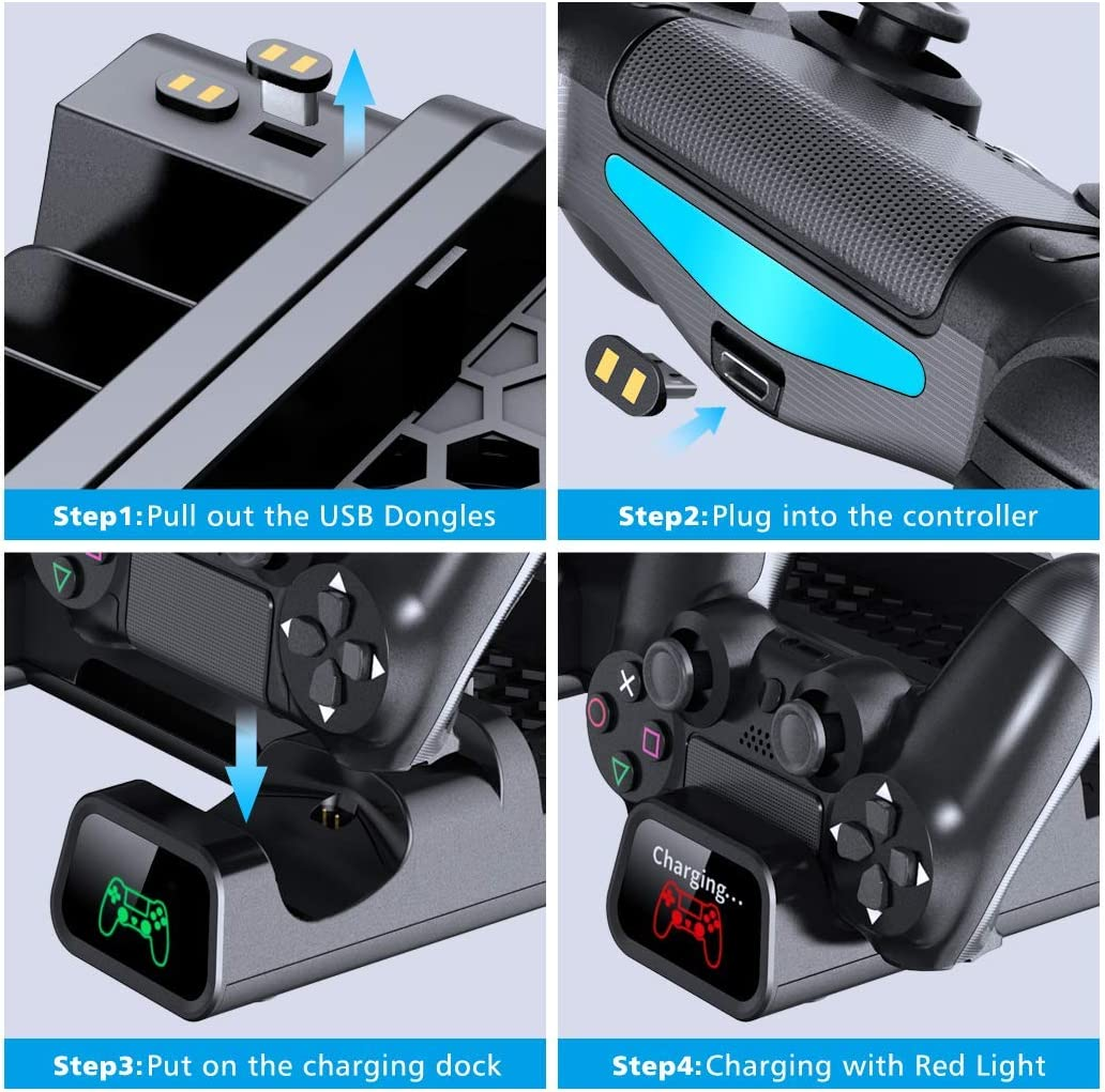 Dual Controller Charger with LED Indicators and 10 Games Storage Cooling Fan Compatible with Regular PS4// PS4 Pro// PS4 Slim,OIVO Controller Charging Dock Station with Cooler Vertical Stand