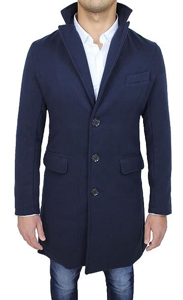 best authentic ecf7c be885 Cappotto uomo sartoriale blu slim fit giaccone soprabito invernale casual  elegante
