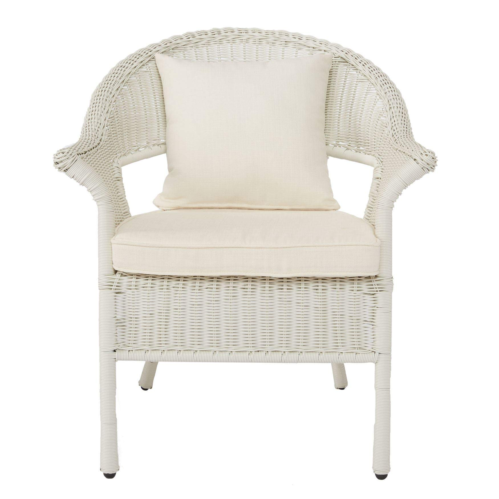 BrylaneHome Roma All-Weather Wicker Stacking Chair - White