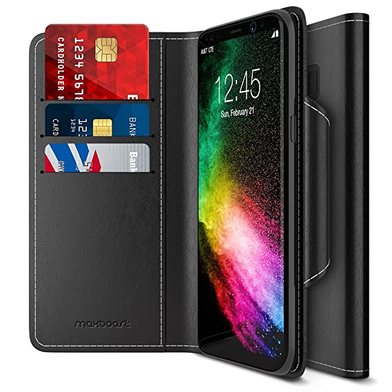 low priced a9ca2 7a152 Maxboost Galaxy S8 Wallet Case [Folio Style] [Stand Feature] Premium  Samsung Galaxy S8 Card Case [Black] Protective PU Leather Flip Cover with  Card ...